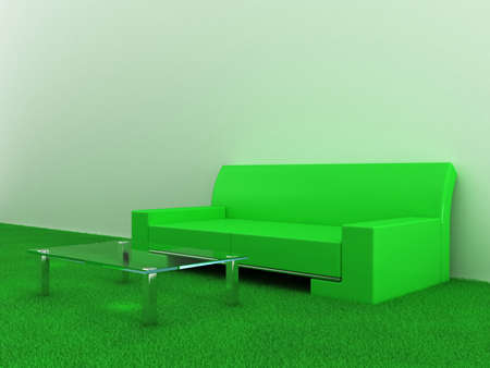 green carpet: Model of a sofa with a table in a room with grass