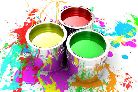 Banks with a paint of different colours are collected together photo