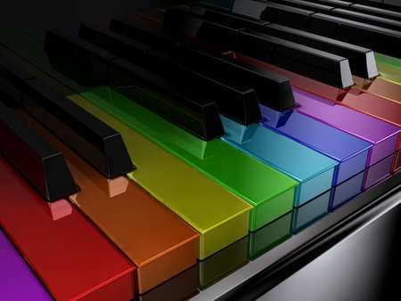 music instrument: The black piano with keys of different colours of a rainbow
