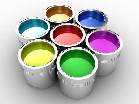 collected: Banks with a paint of different colours are collected together