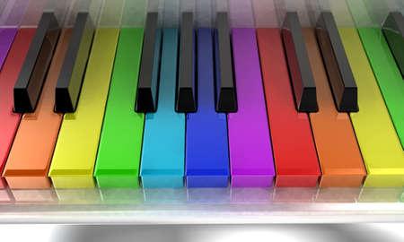 De witte piano met toetsen van verschillende kleuren van een regenboog