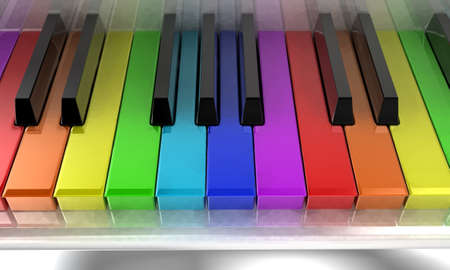 cultural diversity: The white piano with keys of different colours of a rainbow