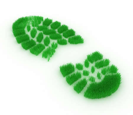 green footprint: Print of footwear in the form of a grass on a white background Stock Photo