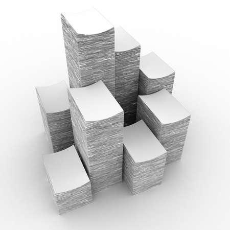 in a pile: La gran pila de papel sobre un fondo blanco