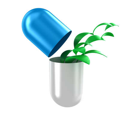 biologic: Illustration of capsule with a green leaves inside Stock Photo
