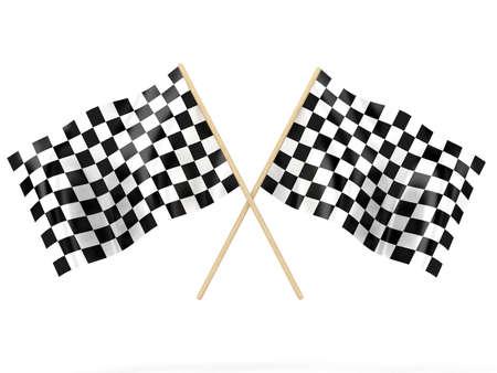 Illustratie van een vlaggen zwaaien voor het op afwerking Stockfoto