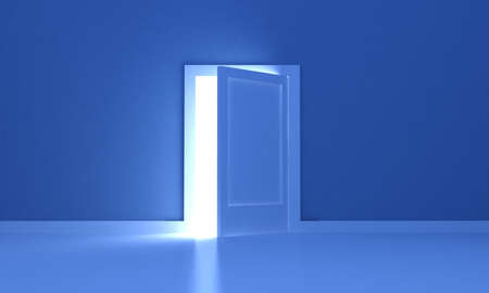 Open door in a dark room with light outside photo
