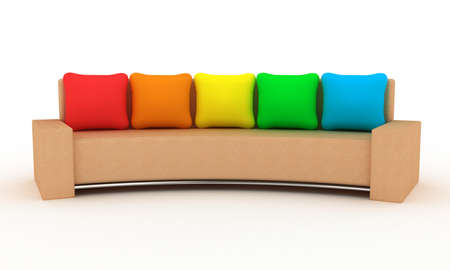 Sofa with multi-coloured pillows on a white background