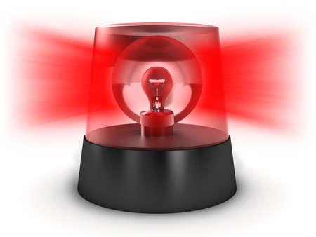 emergencia: Luz roja sobre un fondo blanco Foto de archivo