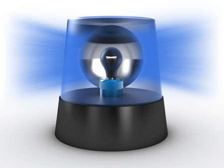 Blauw zwaailicht op een witte achtergrond Stockfoto