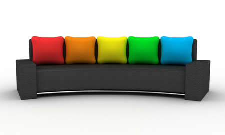 Sofa with multi-coloured pillows on a white background photo