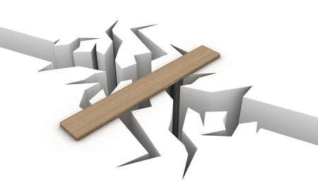 Overgang over een afgrond in de vorm van een houten plank