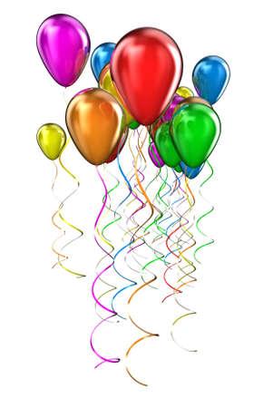 De ballonnen van verschillende kleuren vliegen naar boven