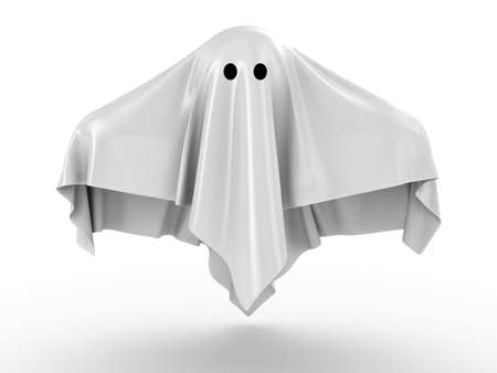 3d halloween: The ghost covered with a grey coverlet