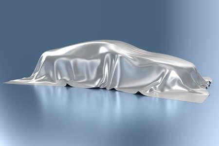 soñar carro: El automóvil cubierto con una tela de seda Foto de archivo