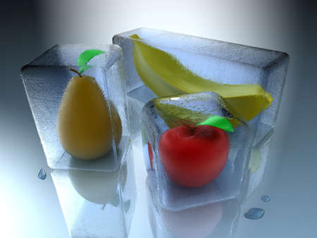 Frozen fruits inside an ice cube with water drops photo