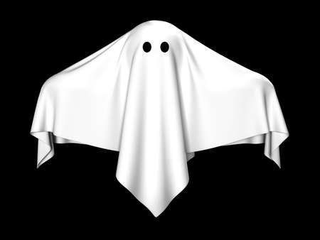 ghost face: The ghost covered with a white coverlet
