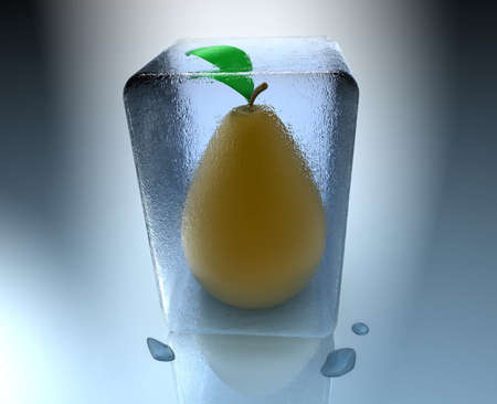 Frozen pear inside an ice cube with water drops photo