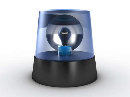 rotating: Blue flashing light on a white background