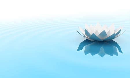 reflecting: Illustration of a flower of a lily on water