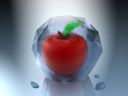 Frozen apple inside an ice cube with water drops photo