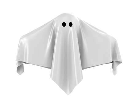 The ghost covered with a grey coverlet