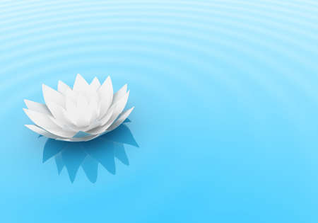 tranquillity: Illustration of a flower of a lily on water