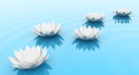 aqua flowers: Illustration of a flowers of a lily on water