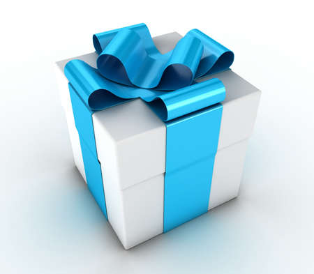 Box with a gift, fastened by a blue ribbon Stock Photo - 10896389