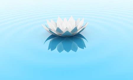 Illustratie van een bloem van een lelie op het water