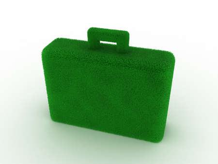 harmless: Green briefcase covered with a grass on a white background