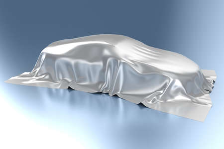dream car: El automóvil cubierto con una tela de seda Foto de archivo