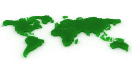 circulating: Planet map with green continents from a grass