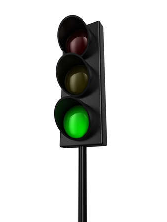 rules of the road: Illustration of a traffic light with green colour