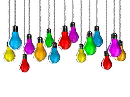 hangs: Illustration of lamps of different colours on a white background Stock Photo