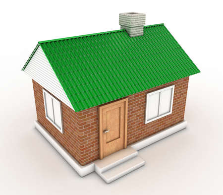 The small house with a green roof on a white background photo