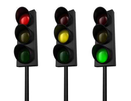 traffic control: Illustration of a traffic light with three colours Stock Photo