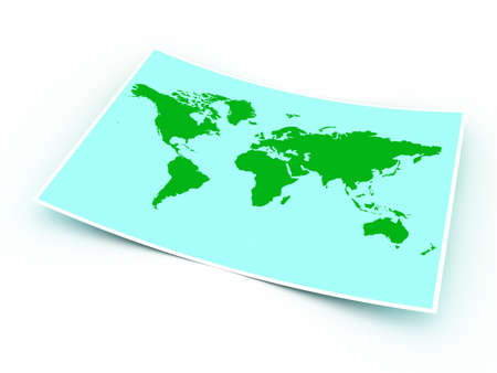 Planet map with green continents on a paper sheet photo