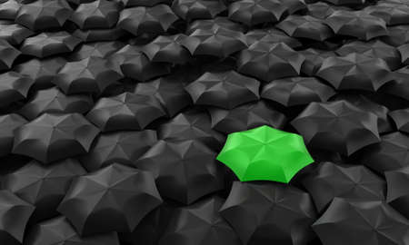 Illustration of one green umbrella among many dark Stock Photo