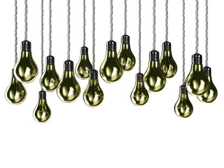 tungsten: Illustration of lamps of gold colour on a white background