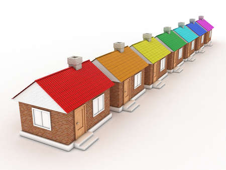 Illustration of seven houses with colour of a rainbow Stock Illustration - 11023937