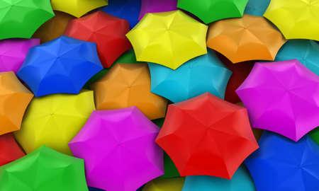 Illustratie van vele veelkleurige paraplu's verzameld op een plek