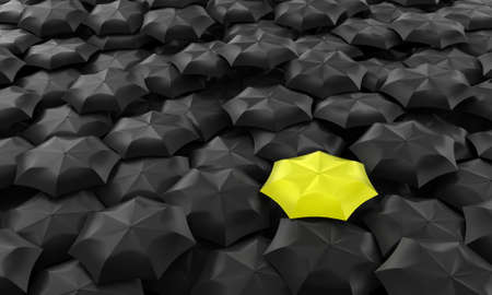 one: Illustration of one yellow umbrella among many dark