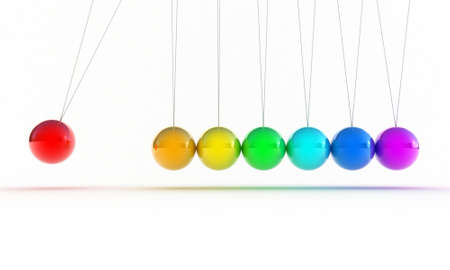 cradle: Illustration of the multicolored pendulum on a white background