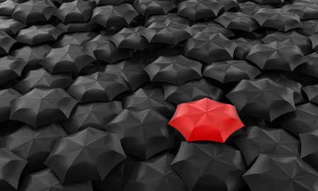 Illustration of one red umbrella among many dark Stock Photo