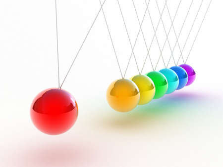 newton cradle: Illustration of the multicolored pendulum on a white background