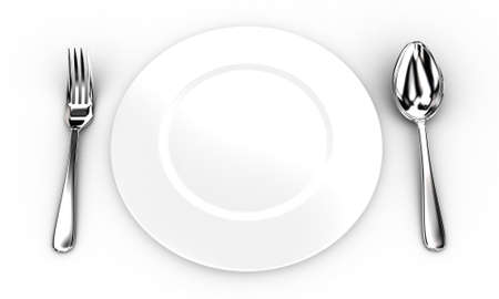 Illustration of fork and spoon near a white plate illustration