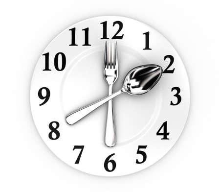 Illustratie van vork en lepel als een klok