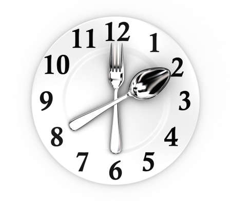 flatware: Illustration of fork and spoon as a clock