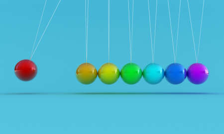 hangs: Illustration of the multicolored pendulum on a blue background